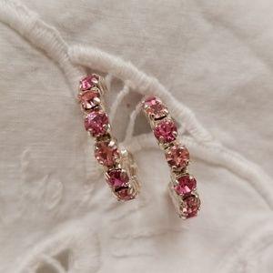 Jewelry - Pink rhinestone hoop earrings